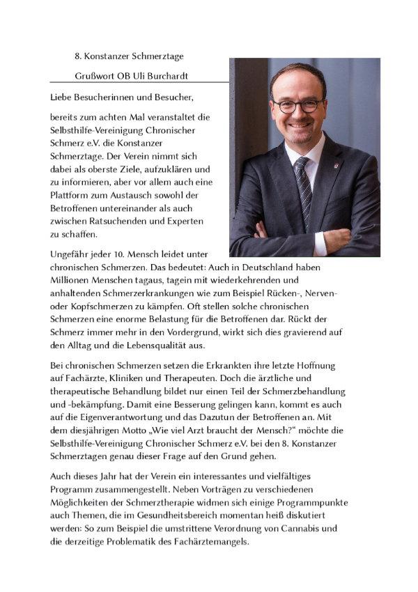 Grußwort des Oberbürgermeisters Burchardt Seite 1.