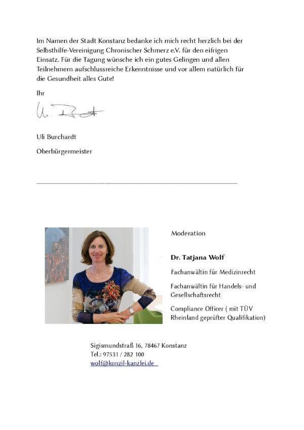 Grußwort des Oberbürgermeisters Burchardt Seite 2.