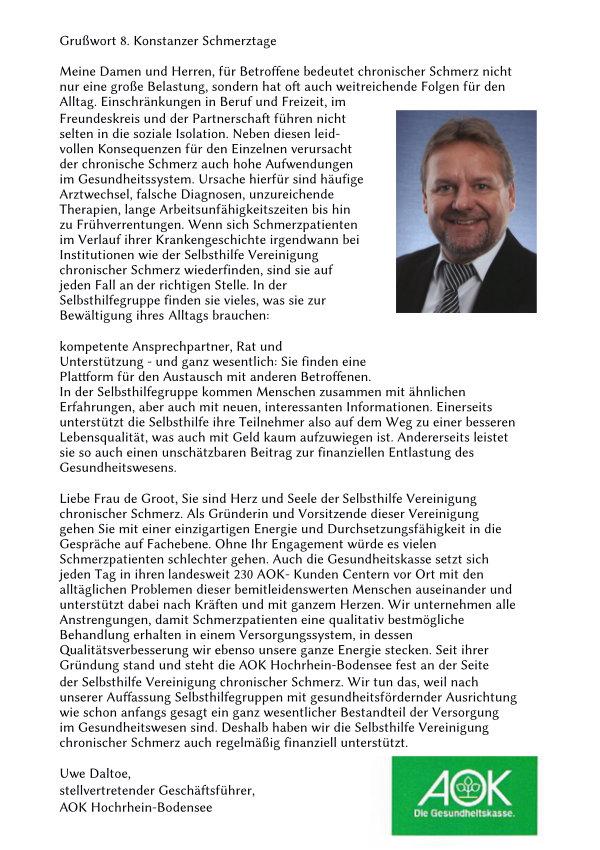 Grußwort von Herrn Daltoe von der AOK.