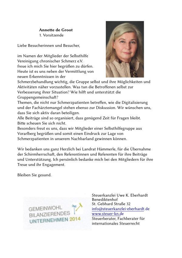 Grußwort von Frau de Groot, 1. Vorsitzende der Selbshilfe Vereinigung chronischer Schmerz e. V.