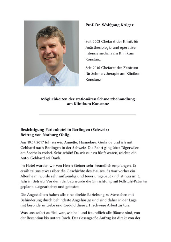 Vorstellung Prof. Dr. Krüger + Text über die Besichtigung eines Ferienhotels.