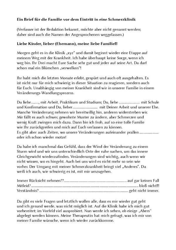 Brief einer Patientin (Seite 1)
